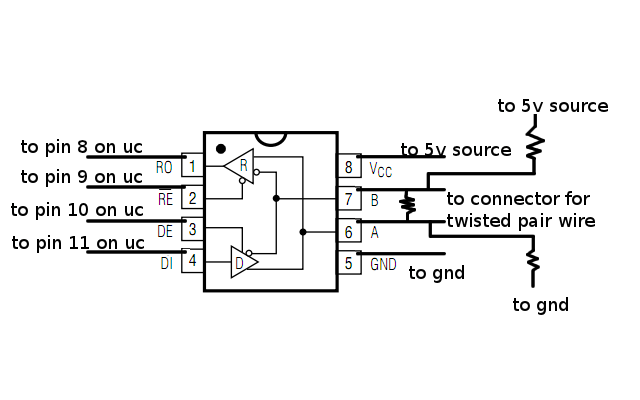 microcontroller to rs 485 circuit