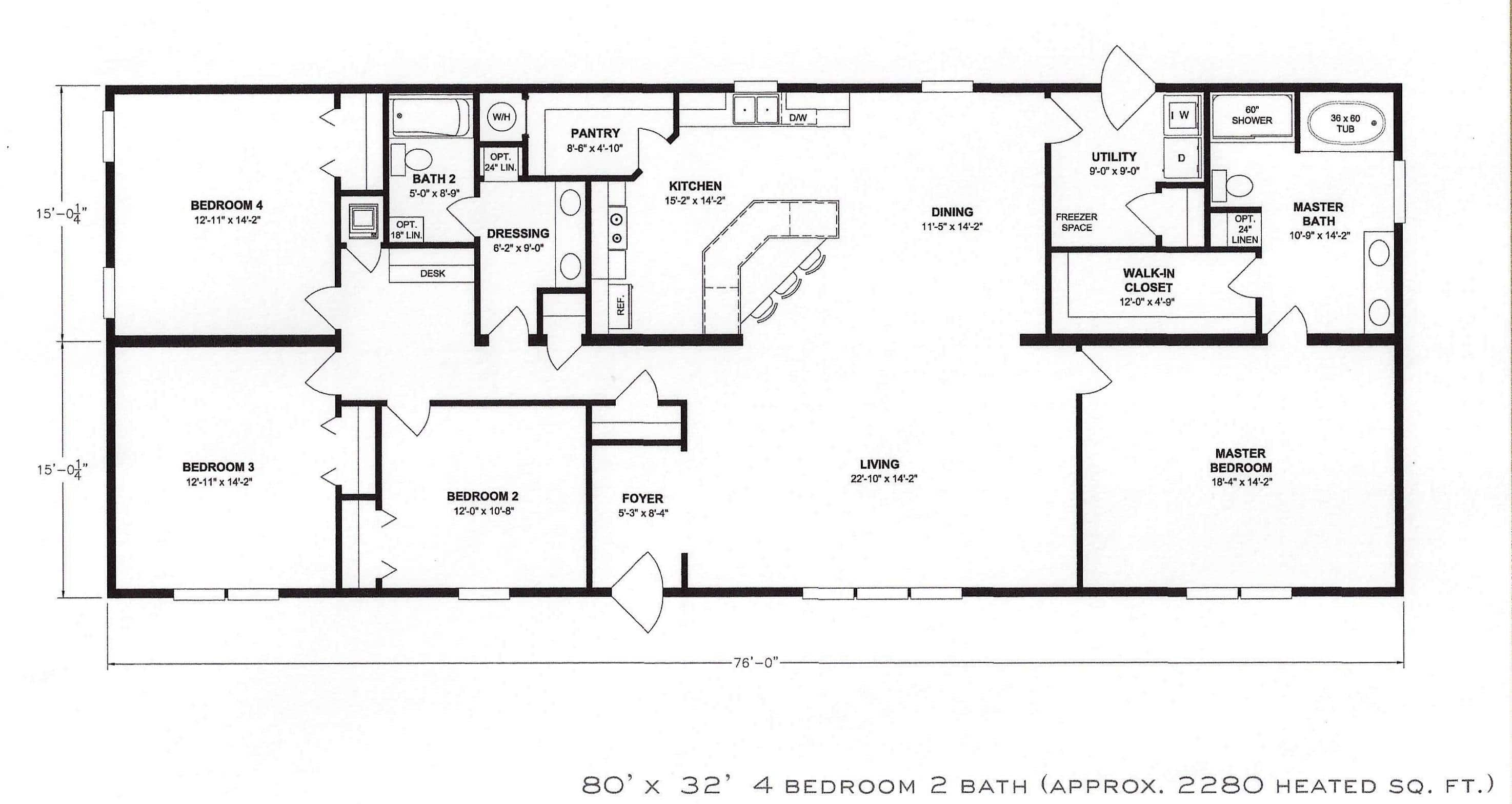 Bedroom Floor Layout 4 Bedroom Floor Plan F 1001 Hawks Homes Manufactured