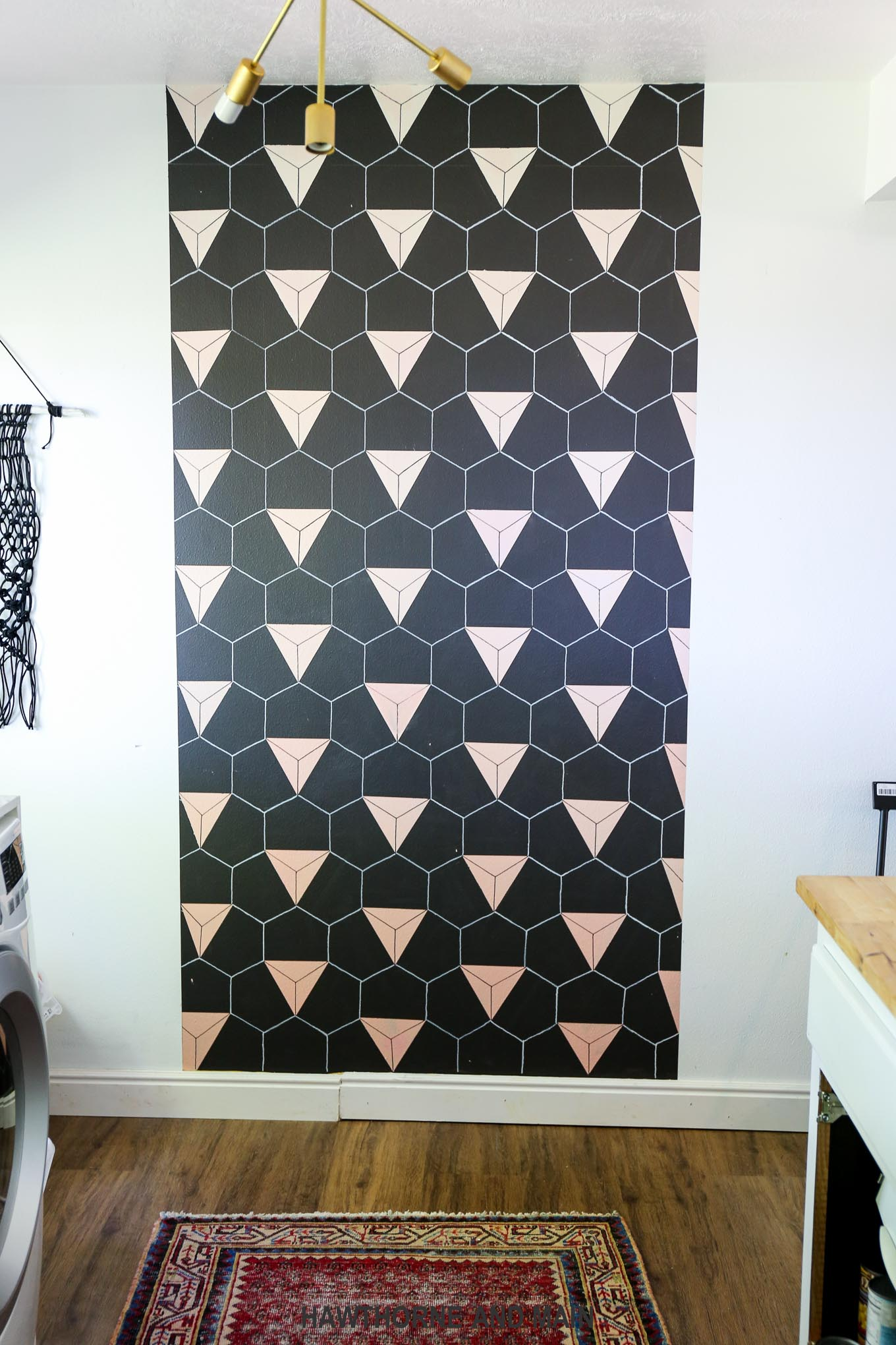 Black Accent Walls Black And Blush Geometric Accent Wall Hawthorne And Main