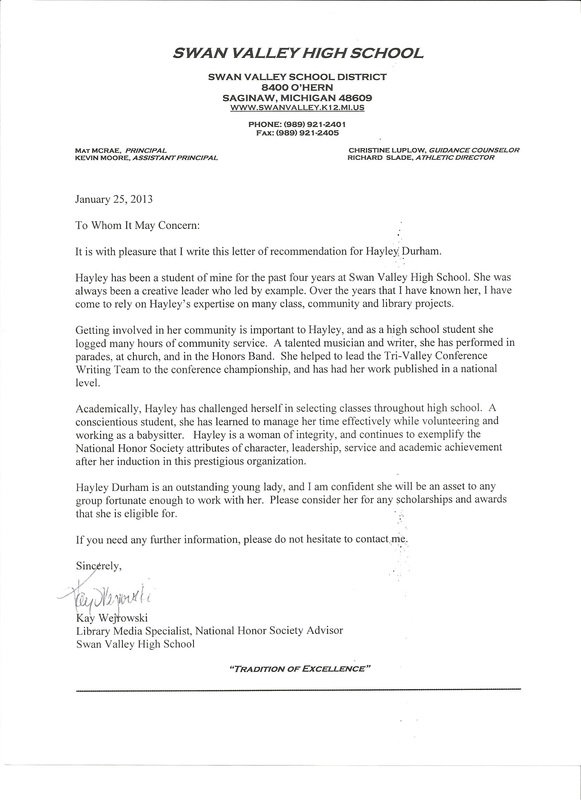 free recommendation letter for national honor society