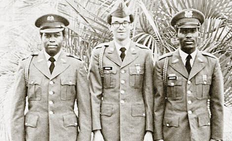 Cadet Staff (L-R), John Hawthorne, Harold Jenkins II, James Johnson preparefor  weekly ROTC 'mandated' drills.