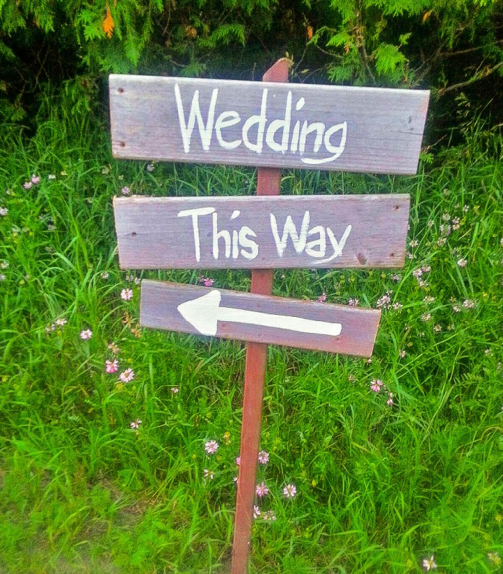 Handwritten wooden wedding sign