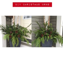Christmas Urns made by hazelboivin of Hazel Boivin Weddings and Events #hbevents #christmas #diy #christmasurns #weddings #events