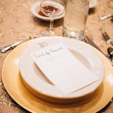Elegant Place setting with handwritten Menus in Toronto Wedding