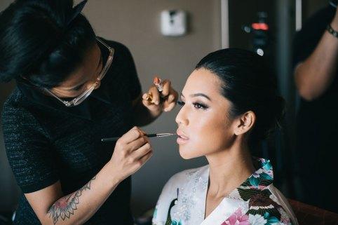 Toronto Bride getting her wedding makeup done