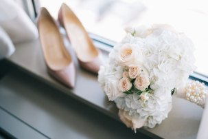 White and Light Pink floral wedding bouquet