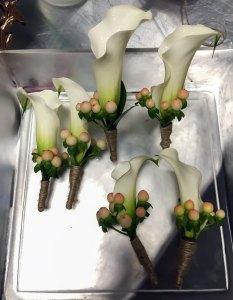 Calla lily boutonnieres