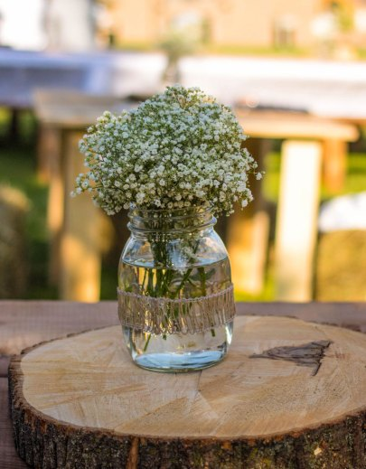 Floral centerpiece in mason jar