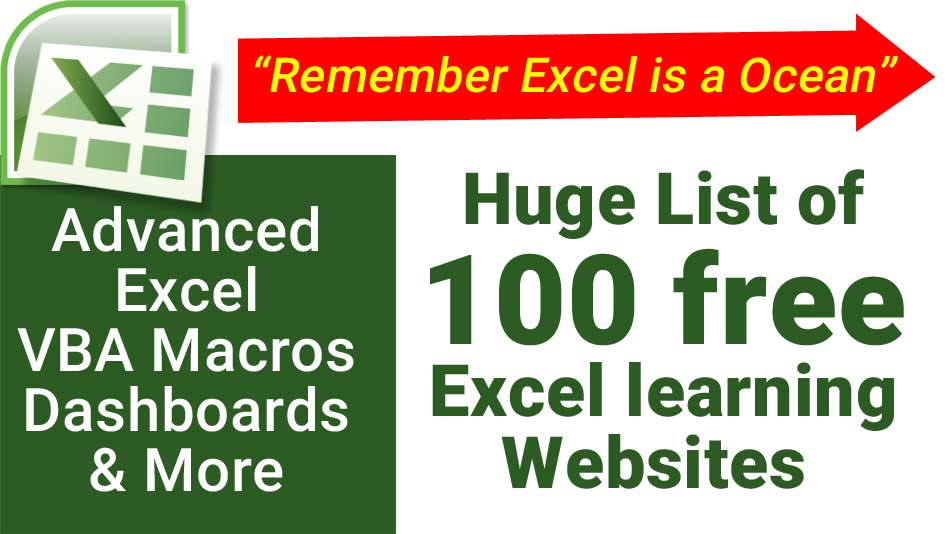 List of free Excel learning sites - Advanced Excel and Excel VBA