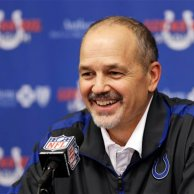 Indianapolis Colts head coach Chuck Pagano responds to a question during a news conference after the Colts defeated the Houston Texans, 28-16, in an NFL football game, Sunday, Dec. 30, 2012, in Indianapolis. He has been battling against a form of leukemia. This was his first game back after undergoing treatments.  (AP Photo/Michael Conroy)