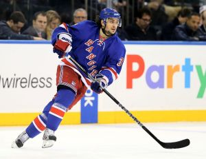 NEW YORK, NY - JANUARY 23: Mats Zuccarello #36 of the New York Rangers skates against the St. Louis Blues at Madison Square Garden on January 23, 2014 in New York City.The St. Louis Blues defeated the New York Rangers 2-1. (Photo by Elsa/Getty Images)