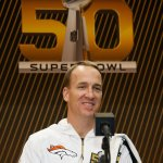 SAN JOSE, CA - FEBRUARY 01: Peyton Manning #18 of the Denver Broncos addresses the media at Super Bowl Opening Night Fueled by Gatorade at SAP Center on February 1, 2016 in San Jose, California. (Photo by Ezra Shaw/Getty Images)