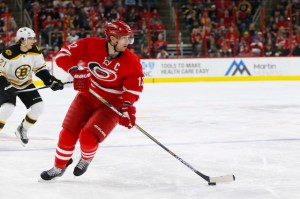 Feb 26, 2016; Raleigh, NC, USA; Carolina Hurricanes forward Eric Staal (12) skates with the puck against the Boston Bruins at PNC Arena. The Boston Bruins defeated the Carolina Hurricanes 4-1. Mandatory Credit: James Guillory-USA TODAY Sports