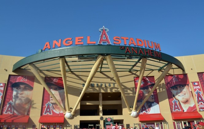 Apr 20, 2015; Anaheim, CA, USA; General view of Angel Stadium of Anaheim before the MLB game between the Oakland Athletics and the Los Angeles Angels. Mandatory Credit: Kirby Lee-USA TODAY Sports