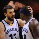 Jan 8, 2016; Memphis, TN, USA; Memphis Grizzlies center Marc Gasol (33) and forward Zach Randolph (50) react against the Denver Nuggets during the second half at FedExForum. Memphis Grizzlies defeated Denver Nuggets 91 - 84. Mandatory Credit: Justin Ford-USA TODAY Sports