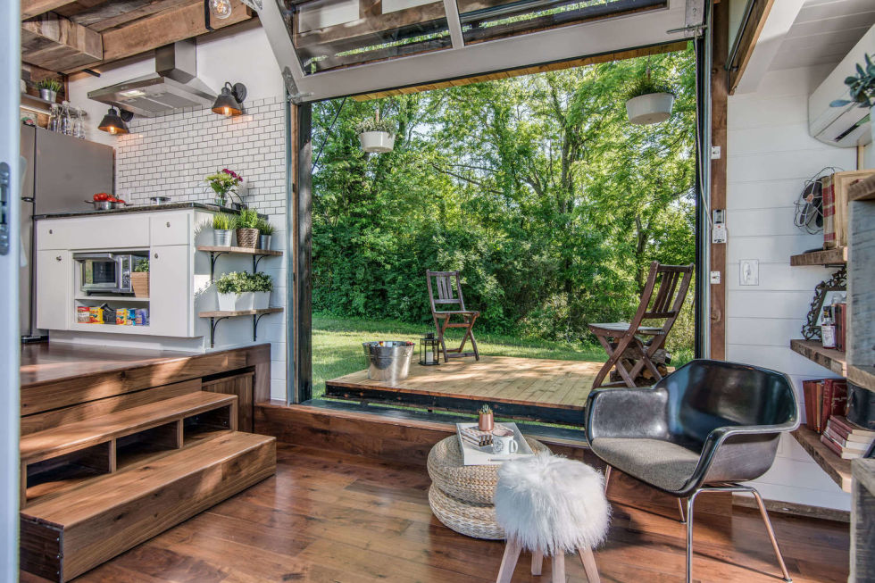 Inside a Tiny House With a Pop-Out Deck - Alpha Tiny Home by New - tiny home ideas