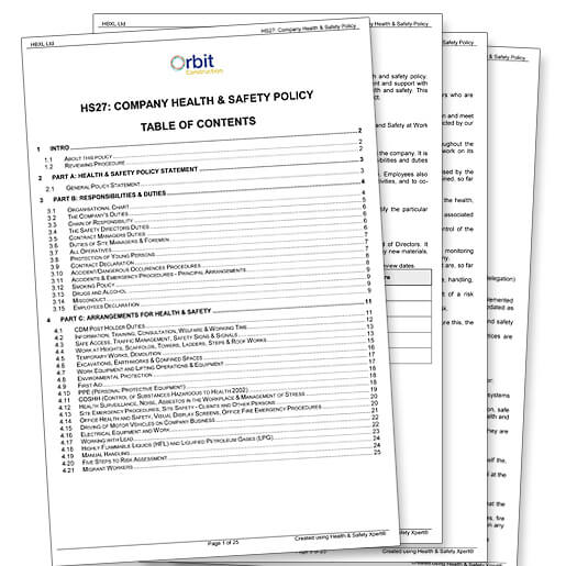 Health and safety documents for construction Complete Library of - sample health and safety policy