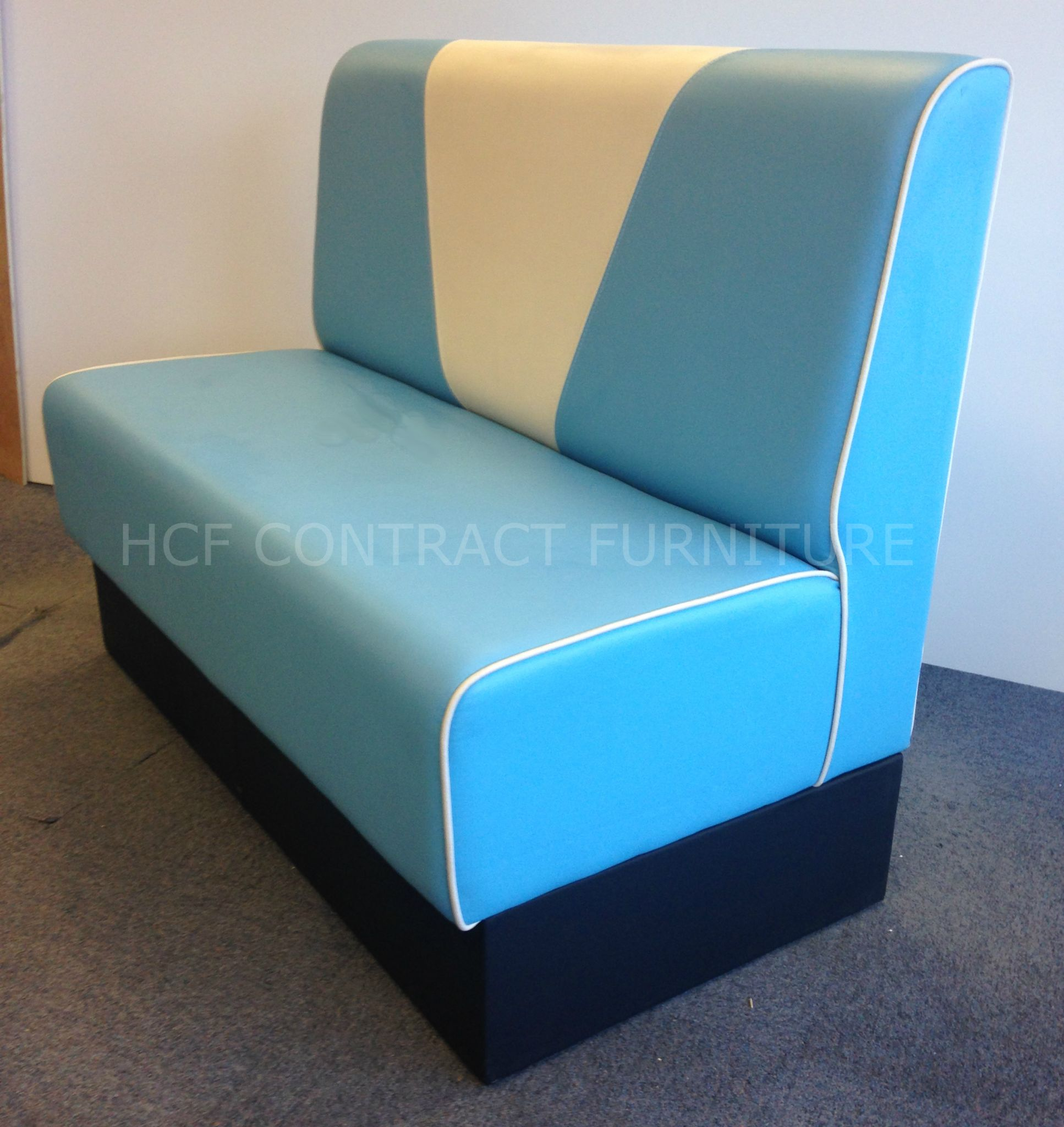 Seat Weiß 2 Seater Retro V Back Booth Seat 1200mm Upholstered In Aqua Weiss