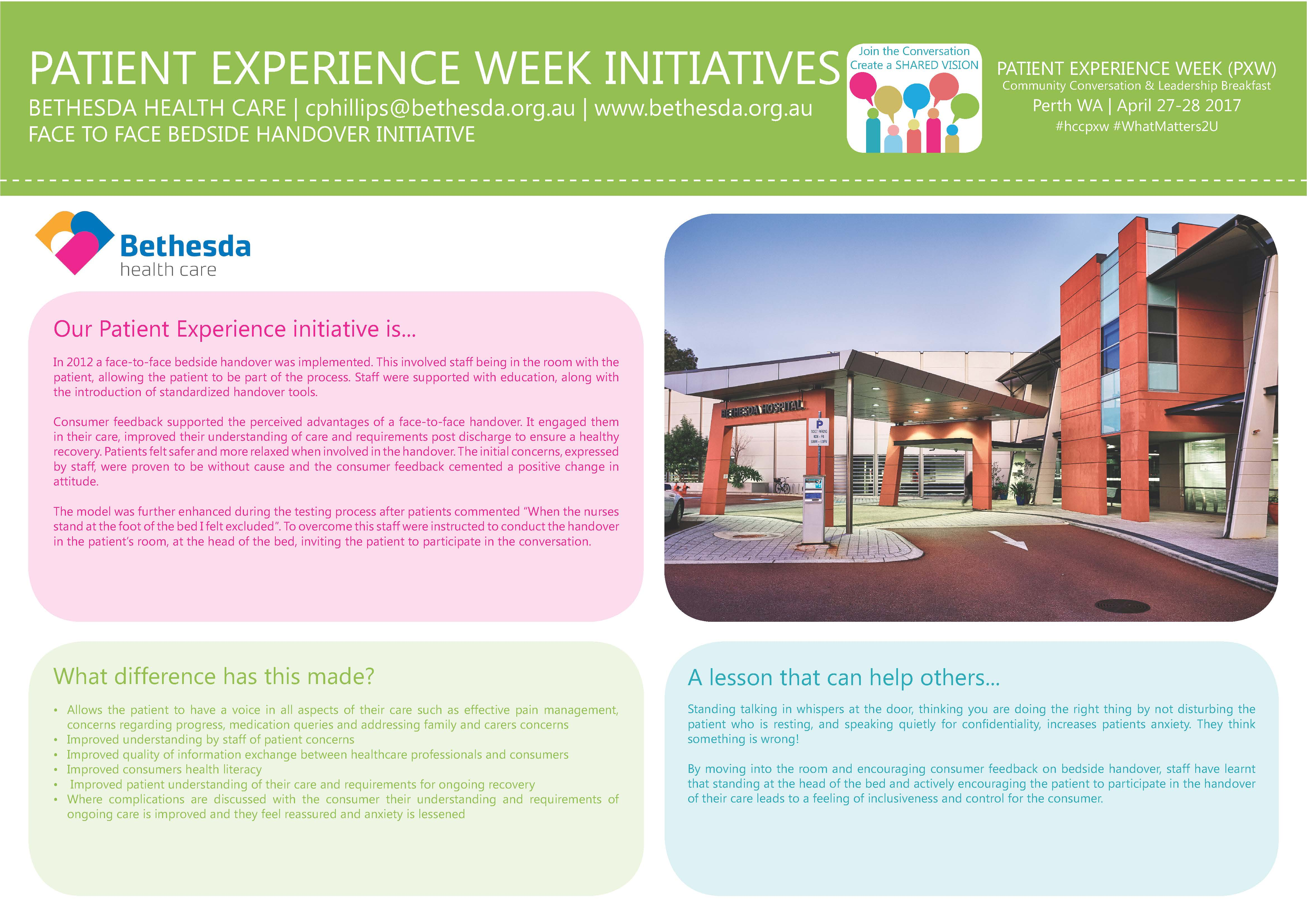 Posters Perth How Are You Improving The Patient Experience Posters Health