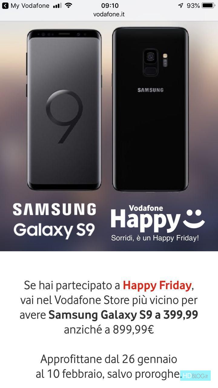 Voda.it/cucina Italiana Vodafone Happy Friday Samsung Galaxy S9 A 399 99 Euro Fino Al 10
