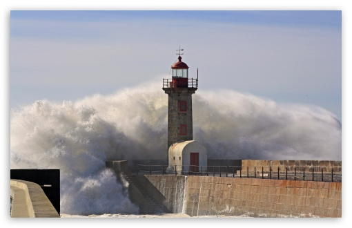 Hd 3d Nature Wallpapers 1080p Widescreen A Huge Wave Crashing Over A Lighthouse 4k Hd Desktop