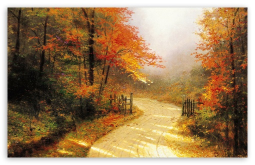 Late Fall Desktop Wallpaper Autumn Lane By Thomas Kinkade 4k Hd Desktop Wallpaper For