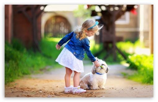 Cute Small Girl Full Hd Wallpaper Girl And Dog 4k Hd Desktop Wallpaper For 4k Ultra Hd Tv