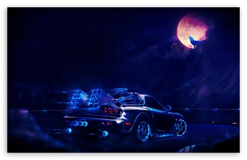 Iphone Wolf Wallpaper Neon Car Going To The Moon Wolf 4k Hd Desktop Wallpaper
