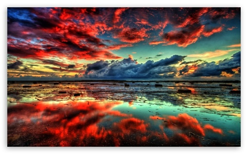 Fall Wallpaper 1440p Red Clouds On Lake 4k Hd Desktop Wallpaper For 4k Ultra Hd