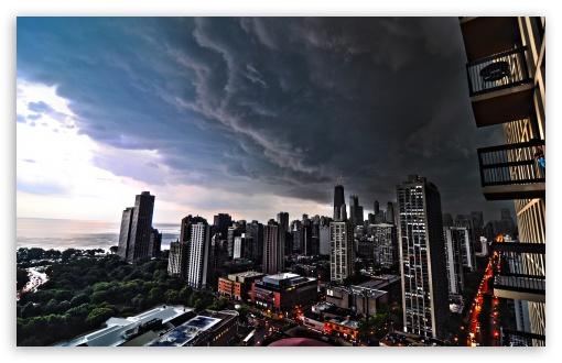 City Skyline Wallpaper Iphone Storm Clouds Over Chicago 4k Hd Desktop Wallpaper For 4k