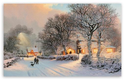Famous Paintings Wallpaper Iphone Village In Winter Painting 4k Hd Desktop Wallpaper For 4k
