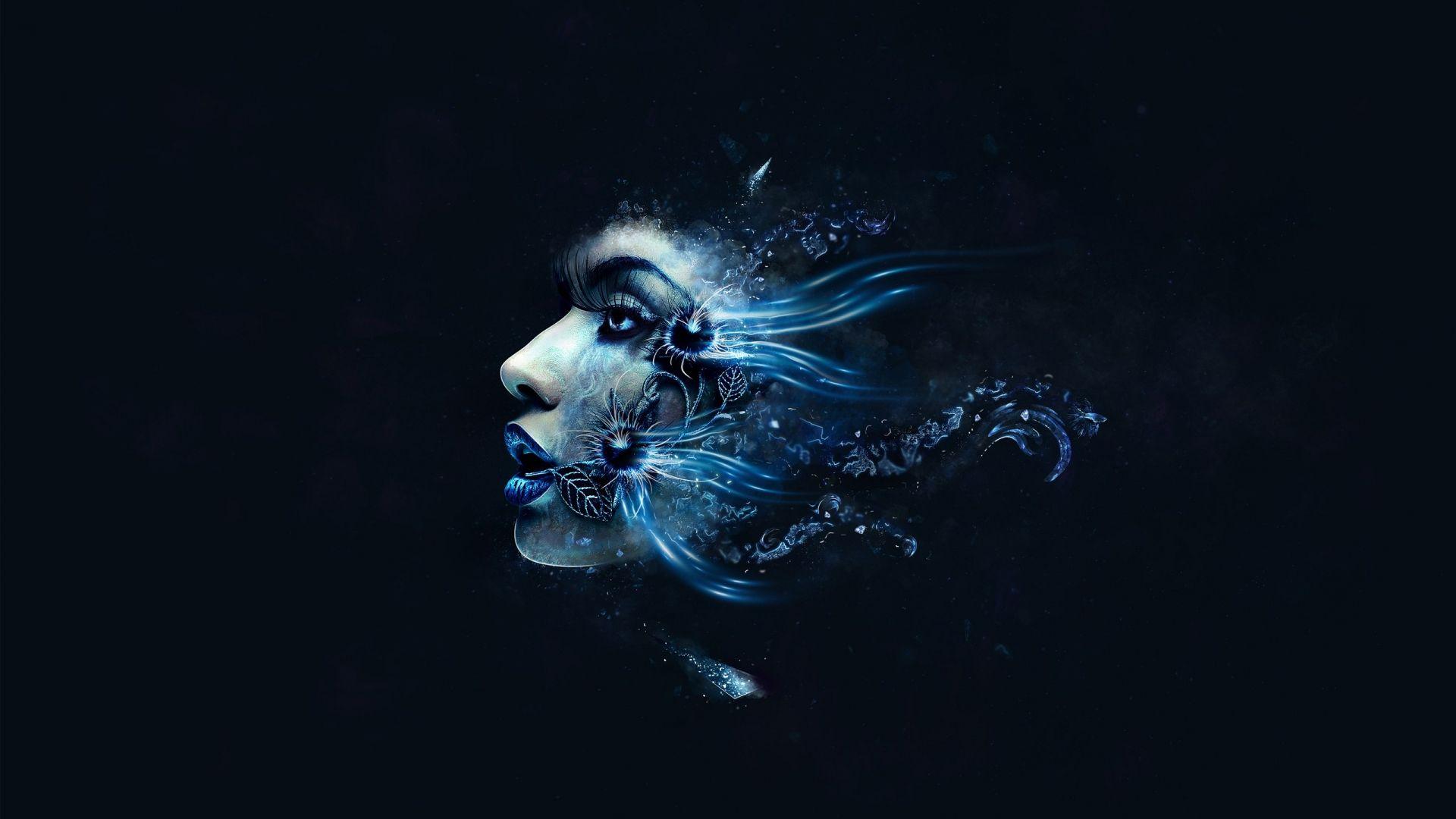 Digital Headphone Wallpaper Girl Black Amp Blue Face 17 Background Hdblackwallpaper Com