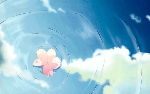 Falling Cherry Blossoms Wallpaper Blue Flower Anime 2 Wide Wallpaper Hdflowerwallpaper Com