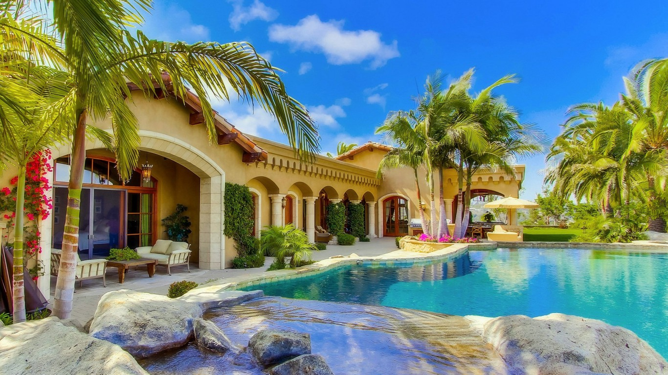 Miami Iphone X Wallpaper Summer Villa Houses Beautiful Pools Photography Palm Trees