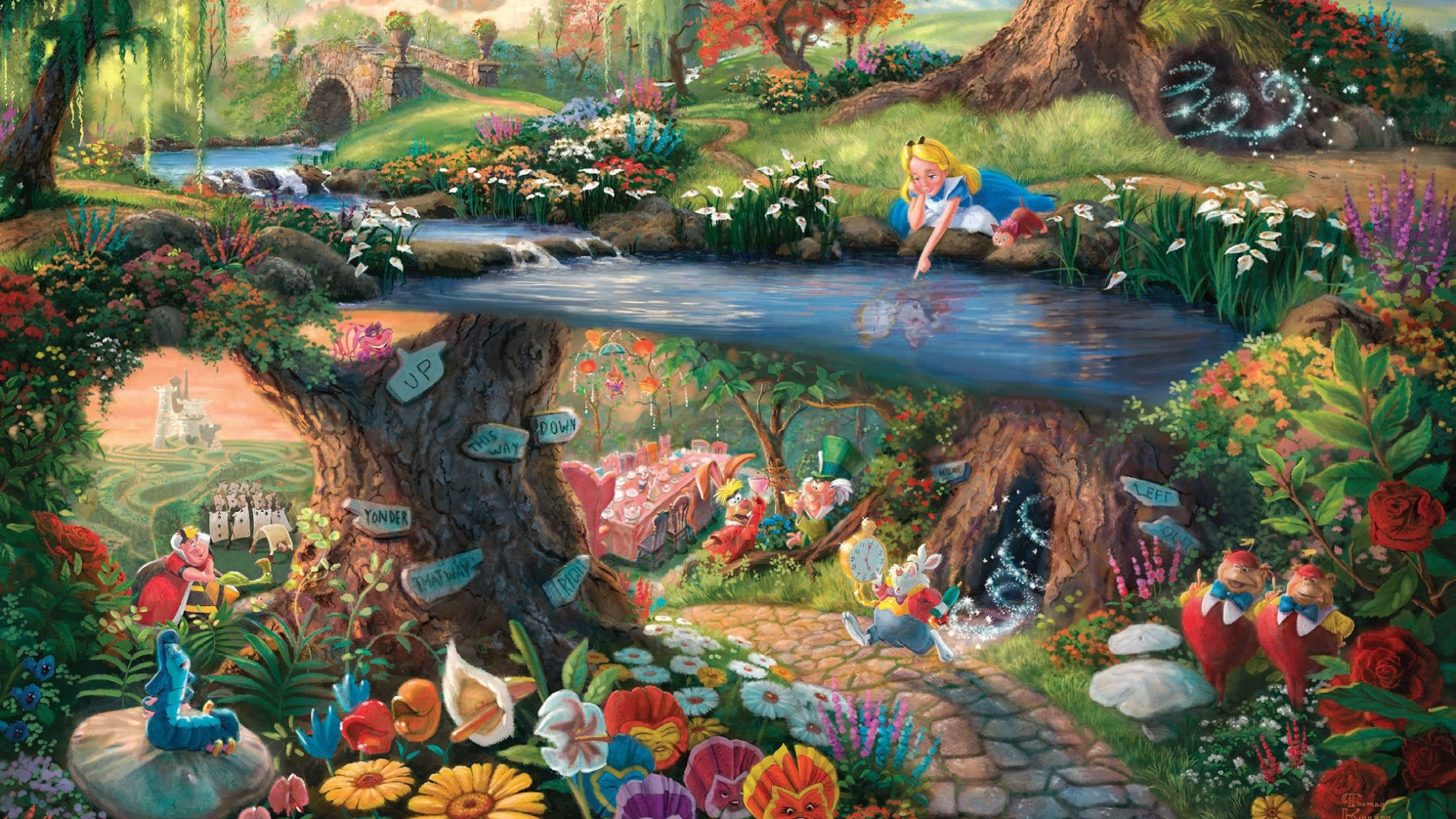 3d Wallpaper Full Hd For Pc Hd Hintergrundbilder Disney Alice Thomas Kinkade Malerei