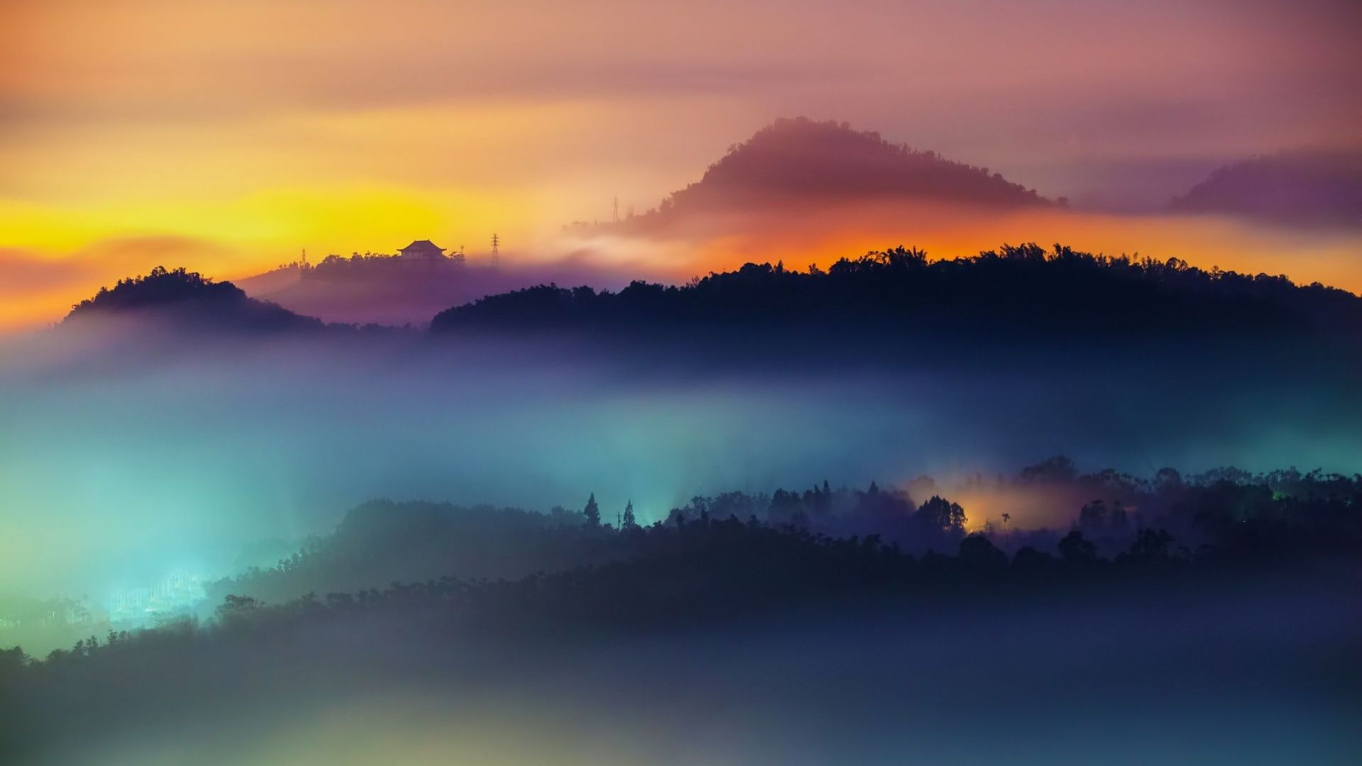Wallpaper Anime 3d Hd Hintergrundbilder Berge Nebel Dunst Sonnenuntergang