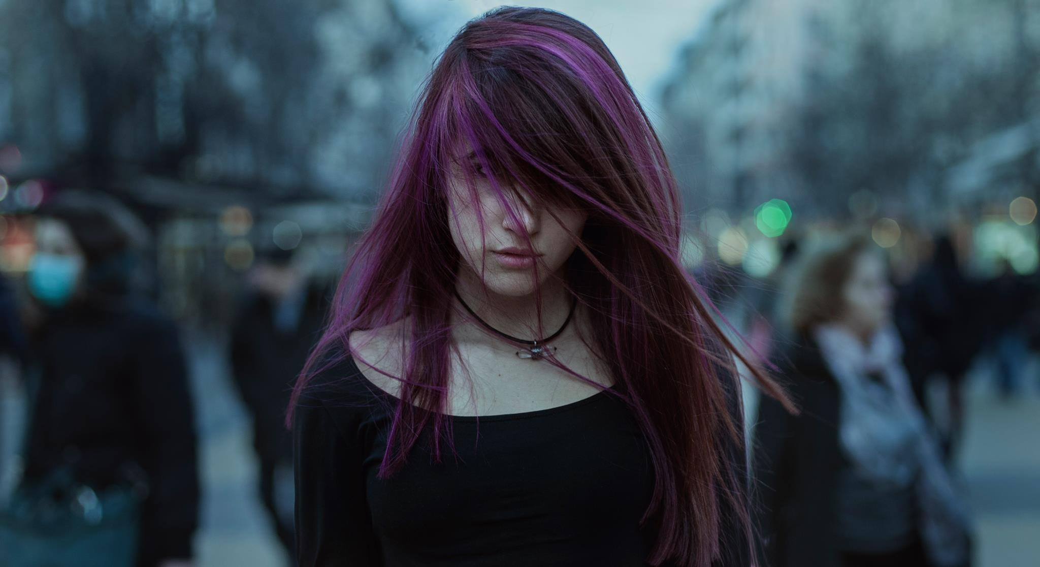 Chinese Cute Girl Hd Wallpaper 720x1280 Purple Hairs Girl Moto G X Xperia Z1 Z3 Compact