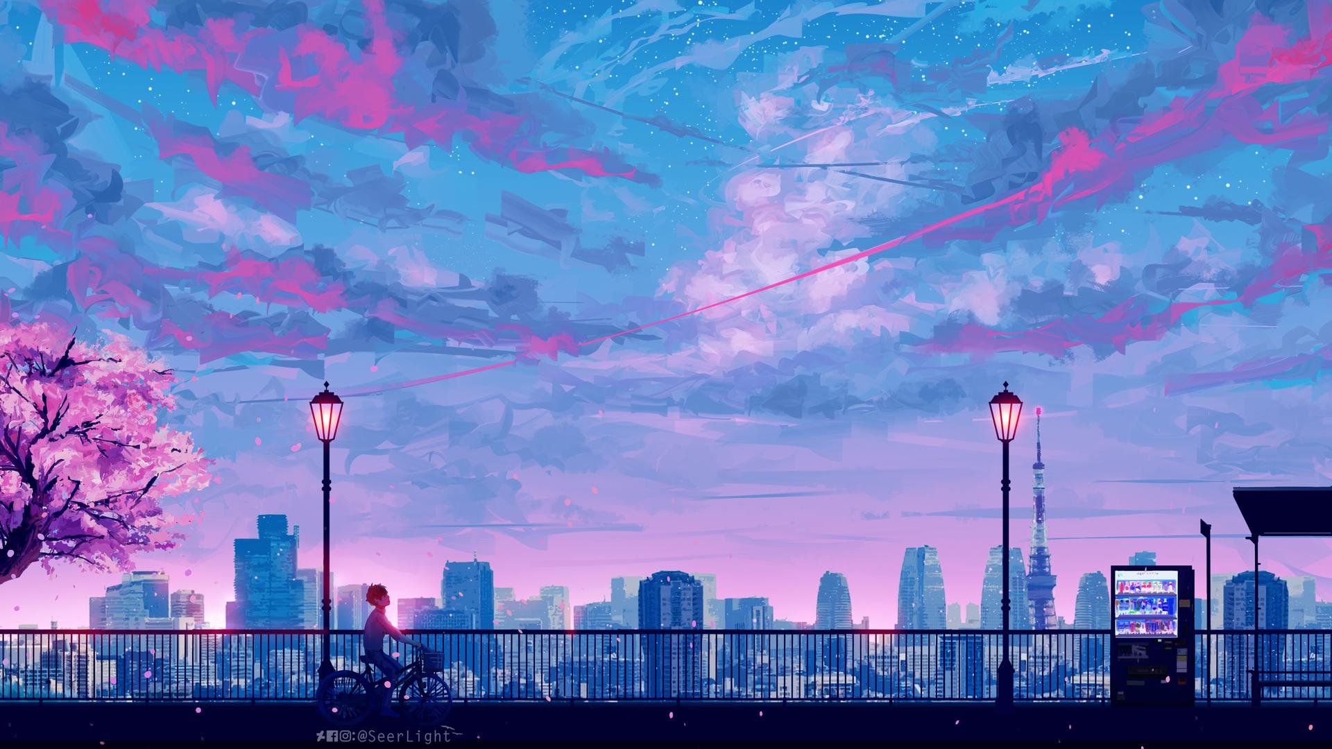 Gambar Wallpaper Cute 1920x1080 Anime Cityscape Landscape Scenery 5k Laptop Full