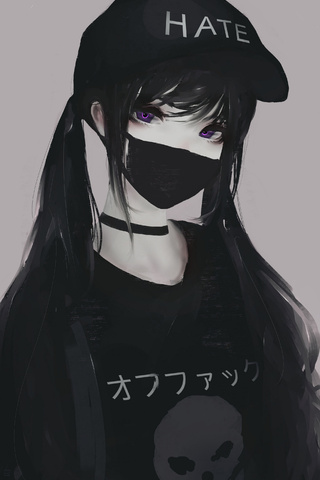 Sad Boy And Girl Love Wallpaper Hd 320x480 Anime Girl Face Mask Purple Eyes Twintails Hate 5k