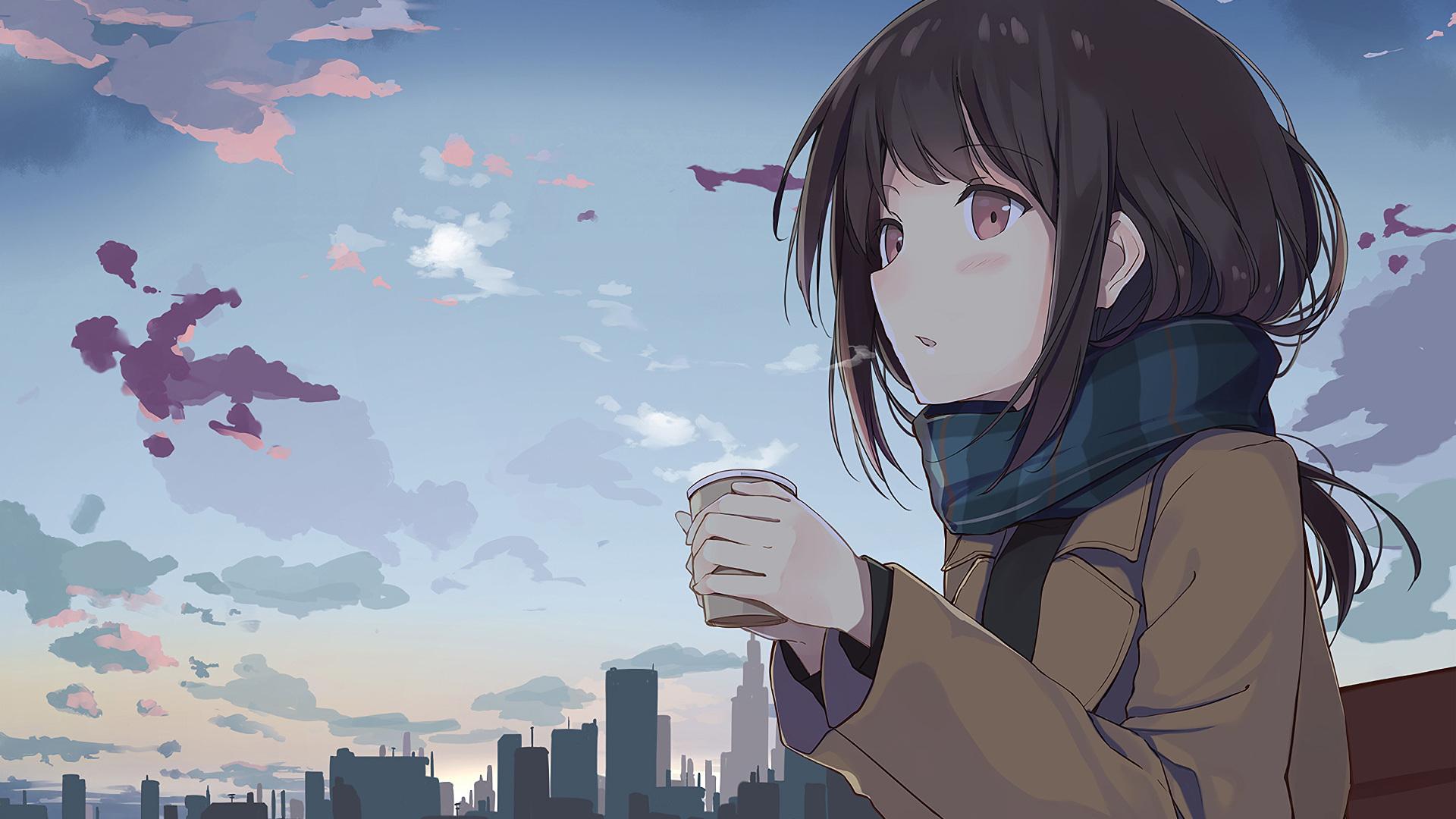 Anime Girls Headphones And Radio 1920x1080 Wallpaper 1920x1080 Anime Girl Holding Tea Outside Laptop Full Hd