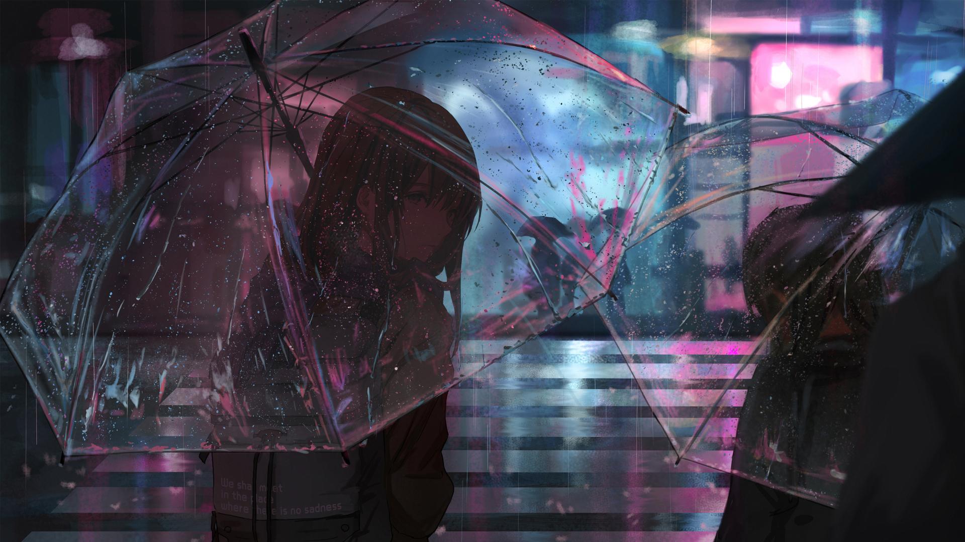 1400x900 Girl Wallpaper 1920x1080 Anime Girl In Rain With Umbrella 4k Laptop Full