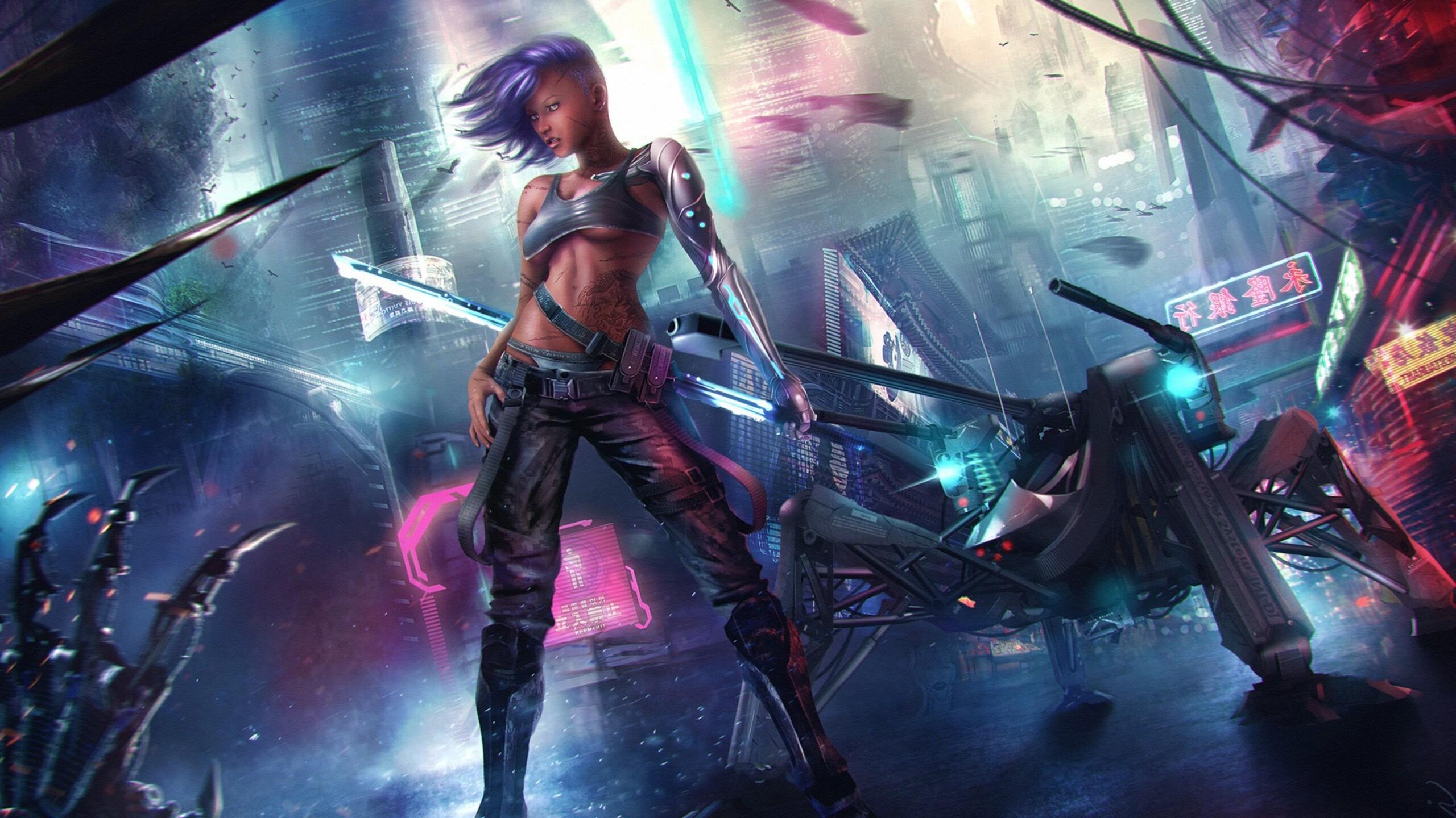 Gamer Girl Spaceship Wallpaper 2560x1440 Asian Cyberpunk 1440p Resolution Hd 4k
