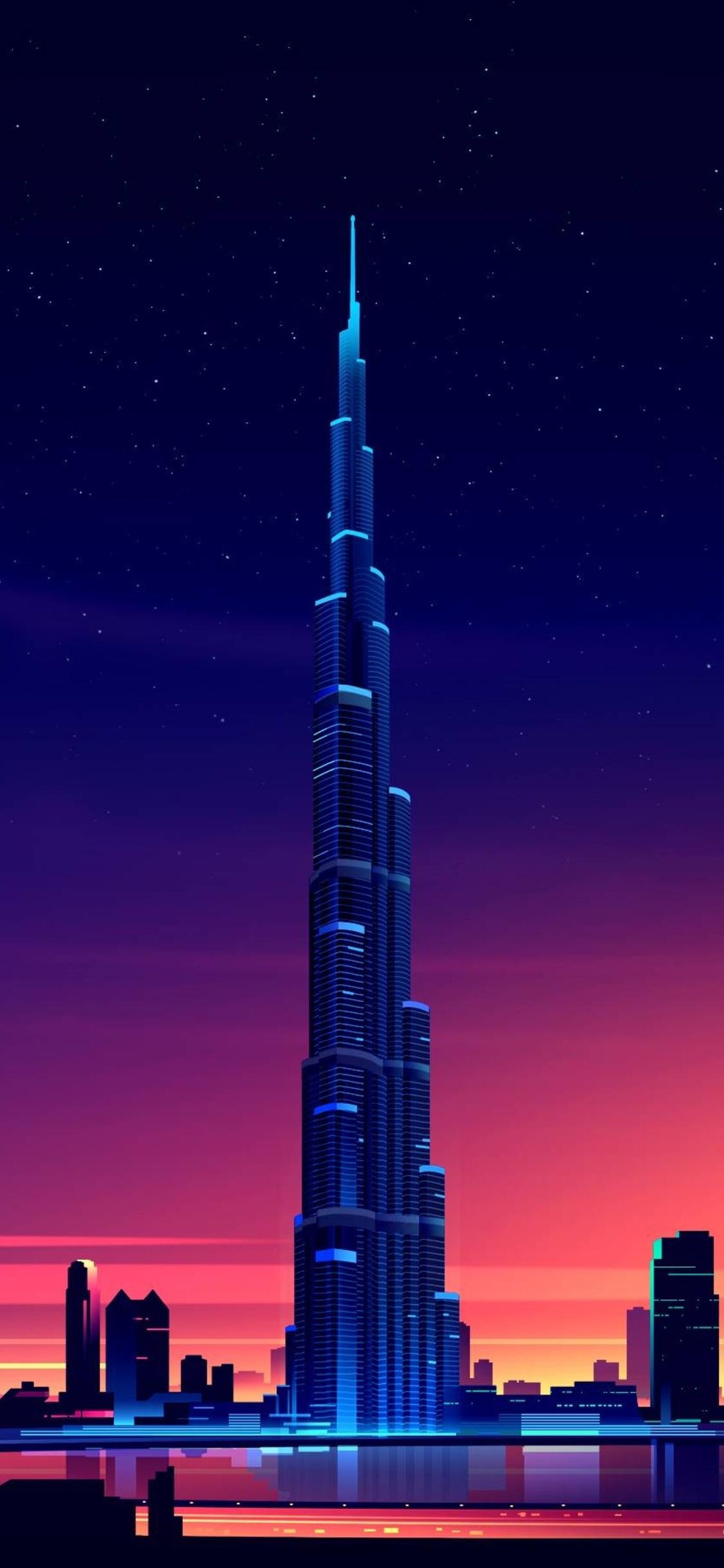 3d Wallpaper Hd Universe 1125x2436 Dubai Burj Khalifa Minimalist Iphone Xs Iphone