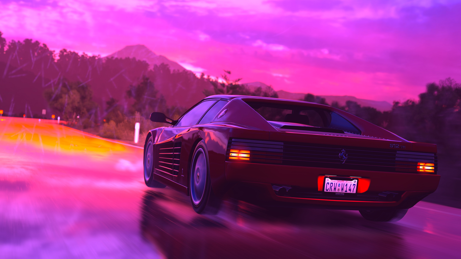Hotline Miami Car Wallpaper 1920x1080 Ferrari Sports Car Retrowave Art 4k Laptop Full