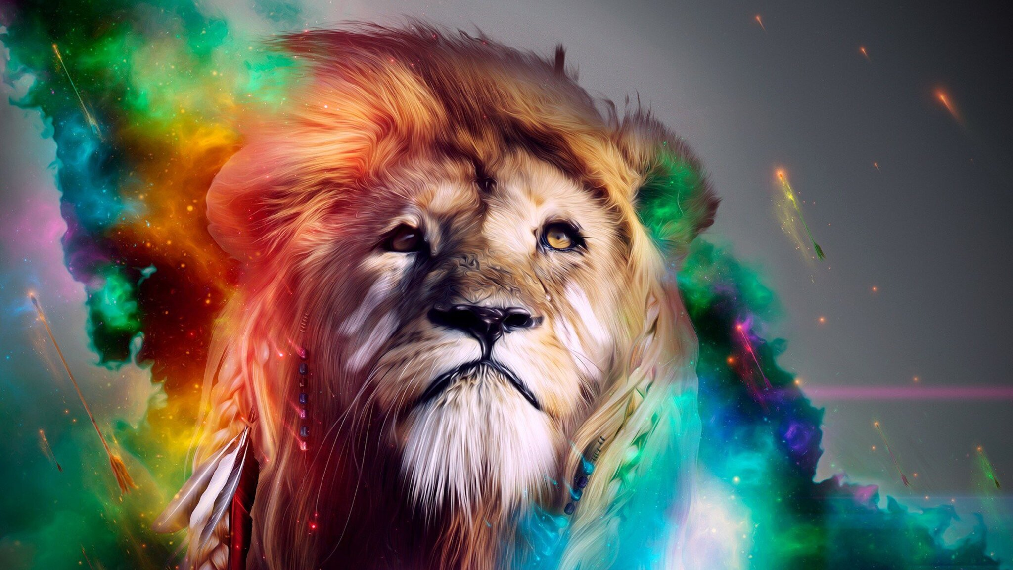 Hd 3d Neon Wallpapers 2048x1152 Lion Abstract 4k 2048x1152 Resolution Hd 4k