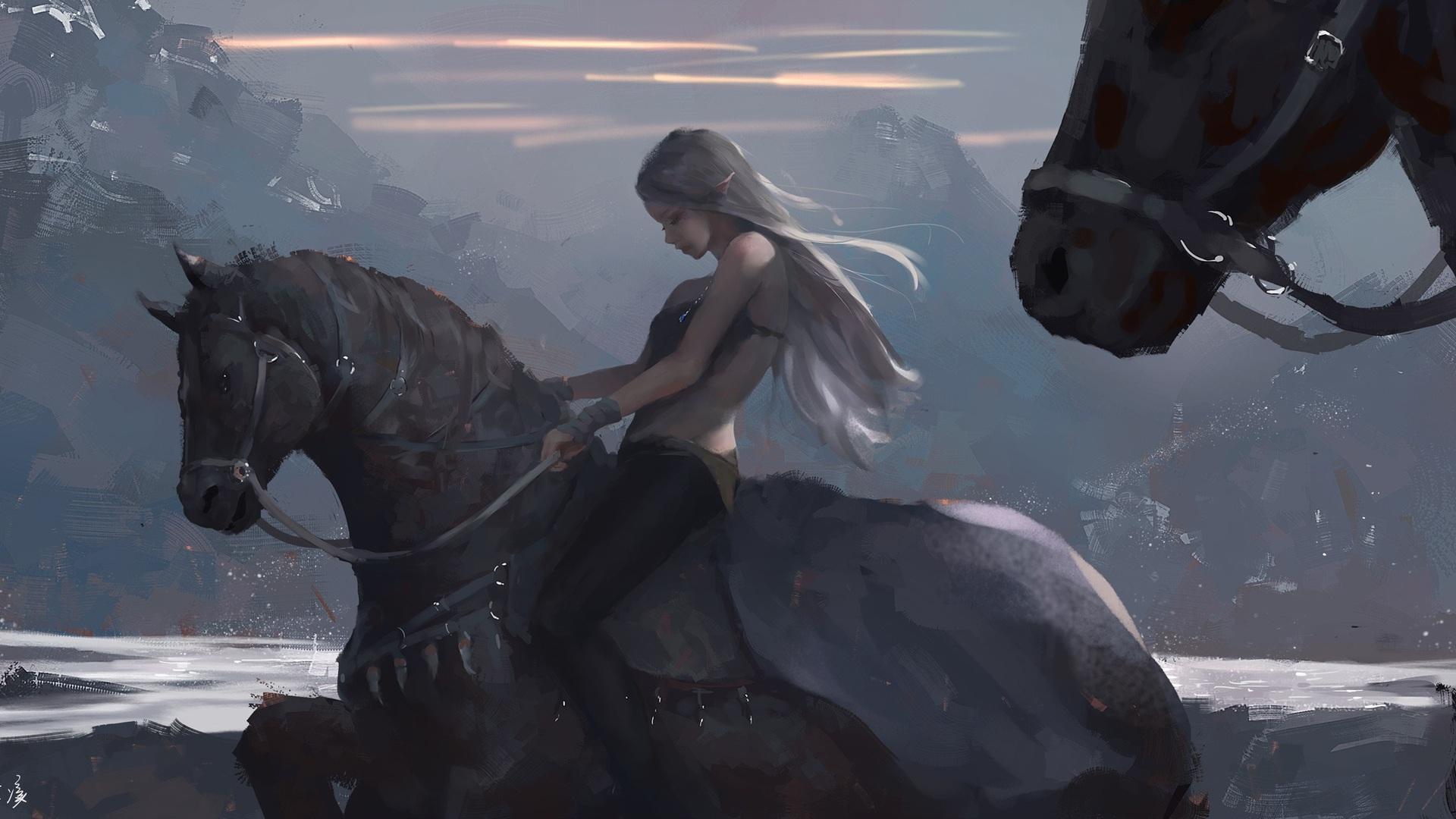 Indian Girl Wallpaper 2560x1440 Jpg 1920x1080 Long Hair Girl On Horse By Wlop Laptop Full Hd