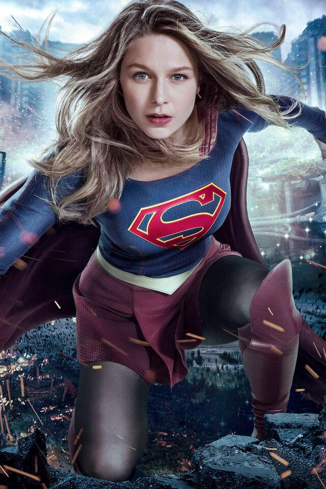 Girl Wallpaper Hd Iphone 4s 640x960 Melissa Benoist Supergirl 2017 Tv Series Iphone 4
