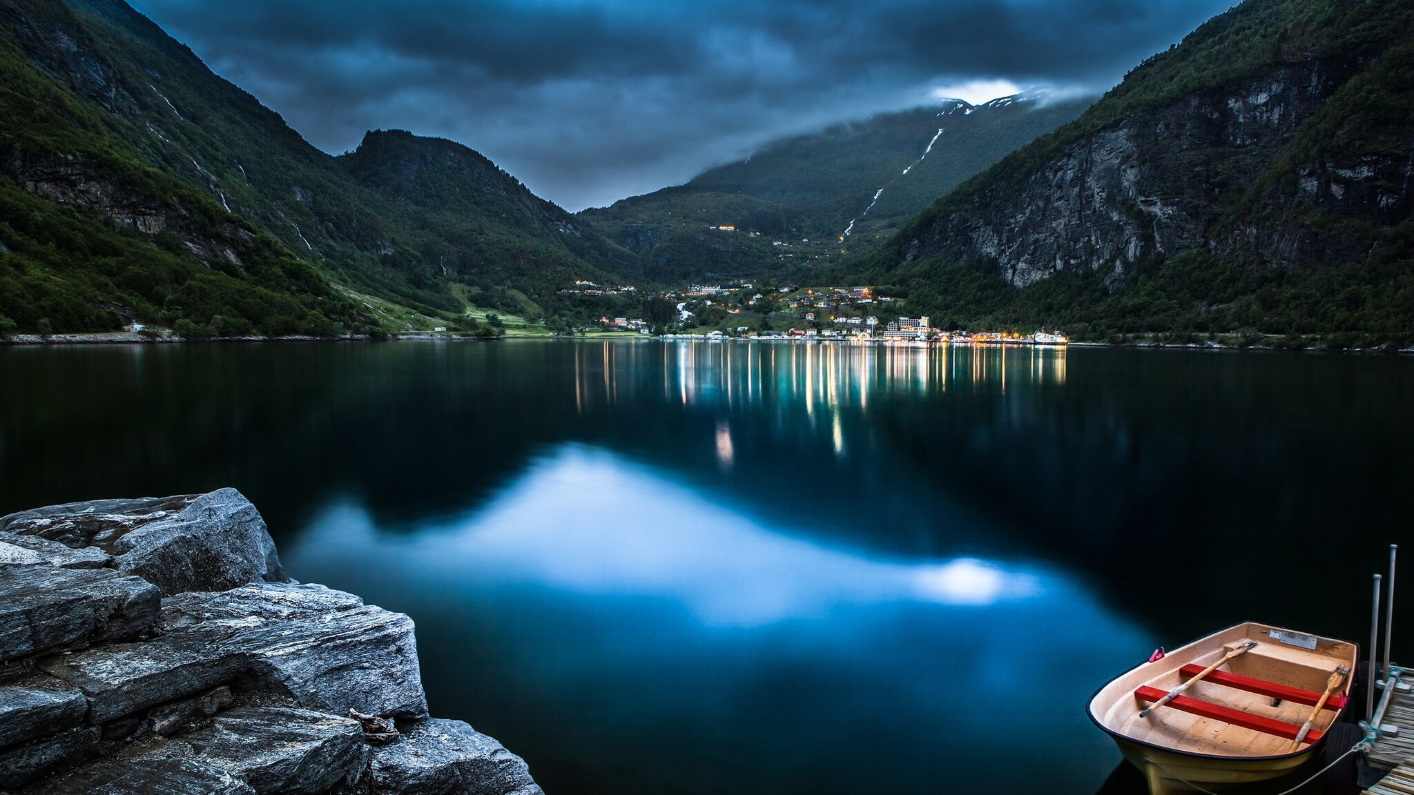 Cute Wallpapers  2048x1152 Mountain Lake Beautiful Night 2048x1152