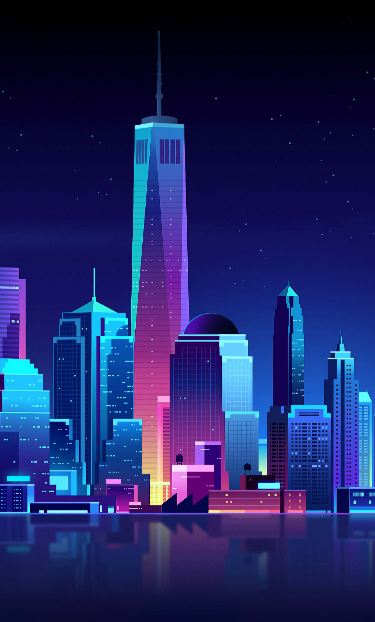 240x320 Animated Mobile Wallpapers Iphone 1280x2120 New York Buildings City Night Minimalism Iphone