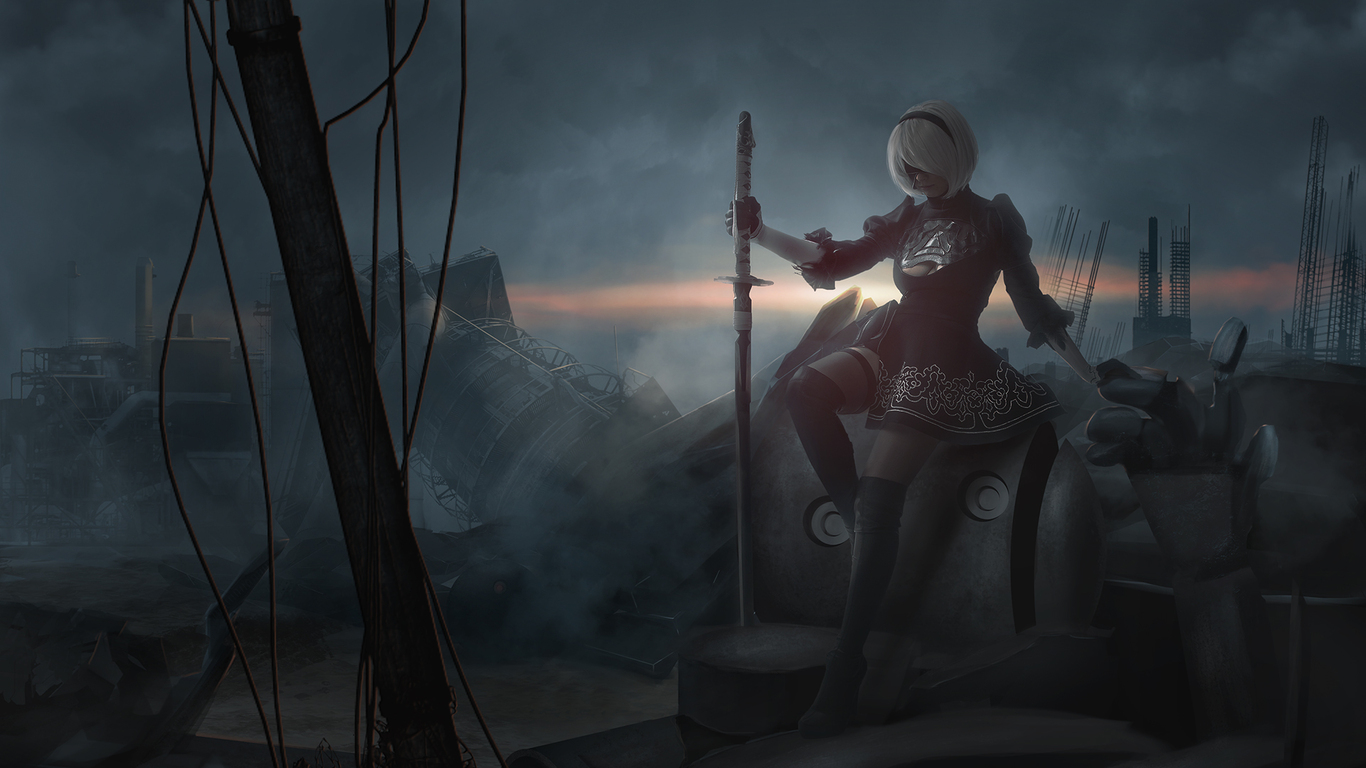 Alone Girl Wallpapers For Dp 1366x768 Nier Automata Hd 1366x768 Resolution Hd 4k